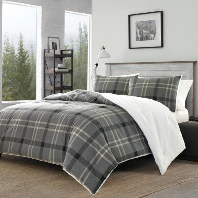 3-Piece Gray Yarrow Point Flannel Sherpa Polyester Full/Queen Comforter Set