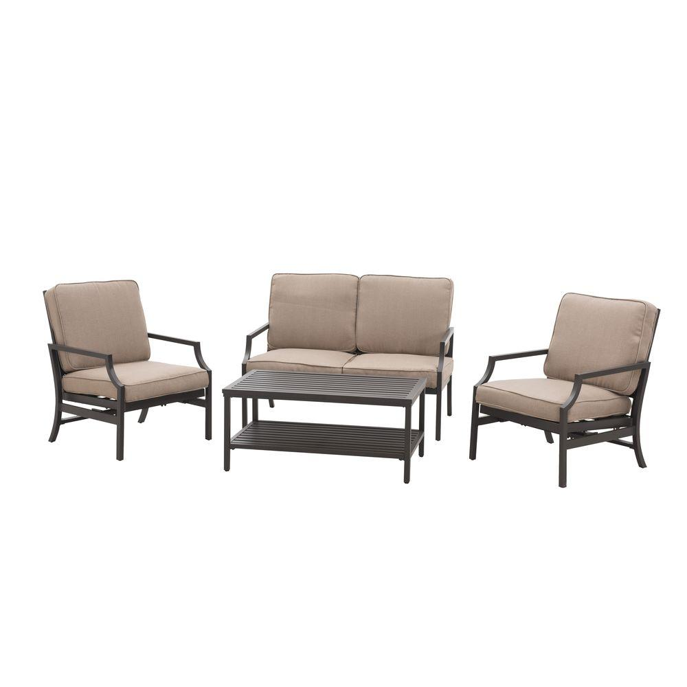 Sunjoy Pine Ridge 4-Piece Patio Conversation Set with Brown Cushions