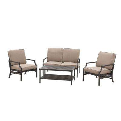 Pine Ridge 4-Piece Patio Conversation Set with Brown Cushions