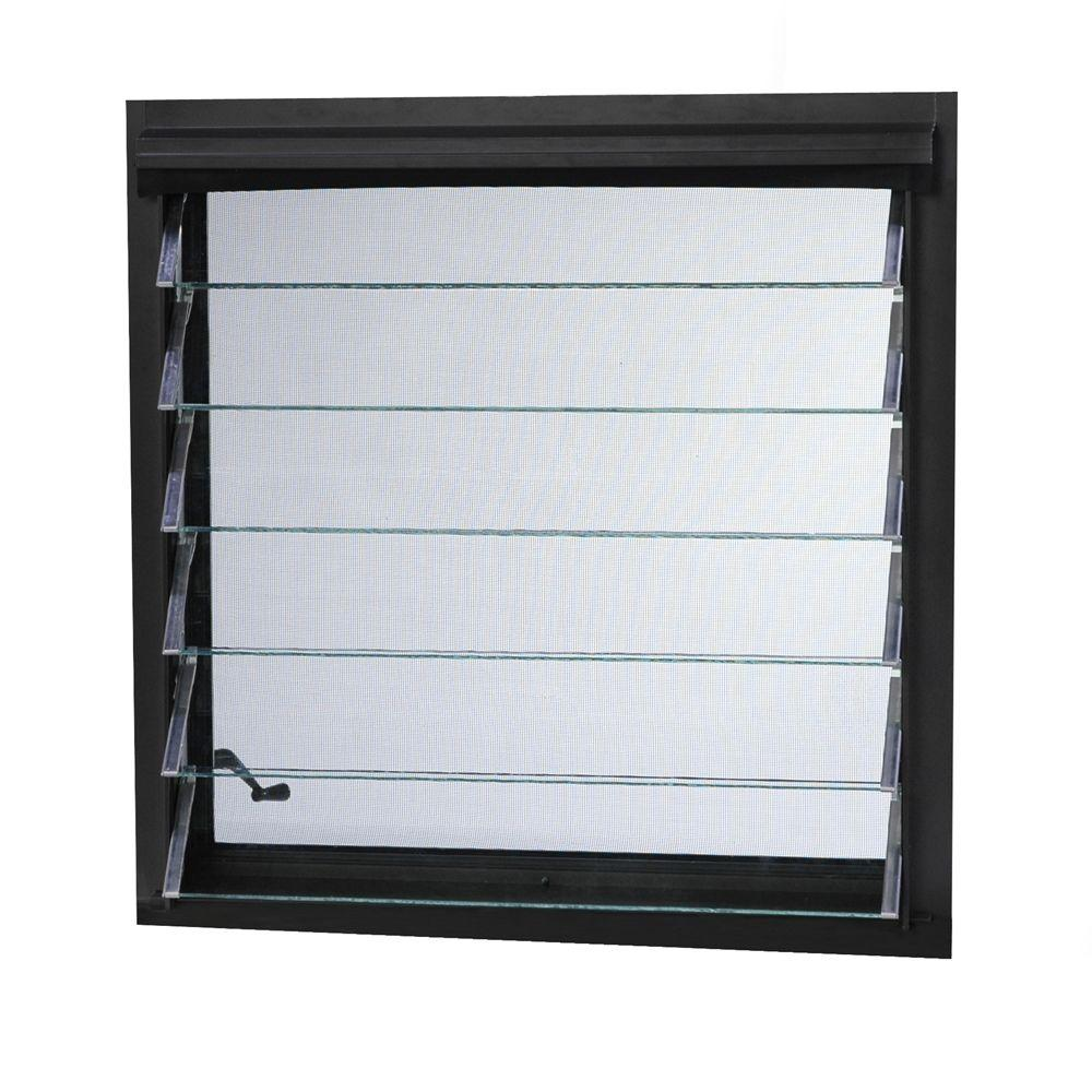 TAFCO WINDOWS 29 in. x 29.29 in. Jalousie Utility Louver Aluminum Screen  Window - Bronze