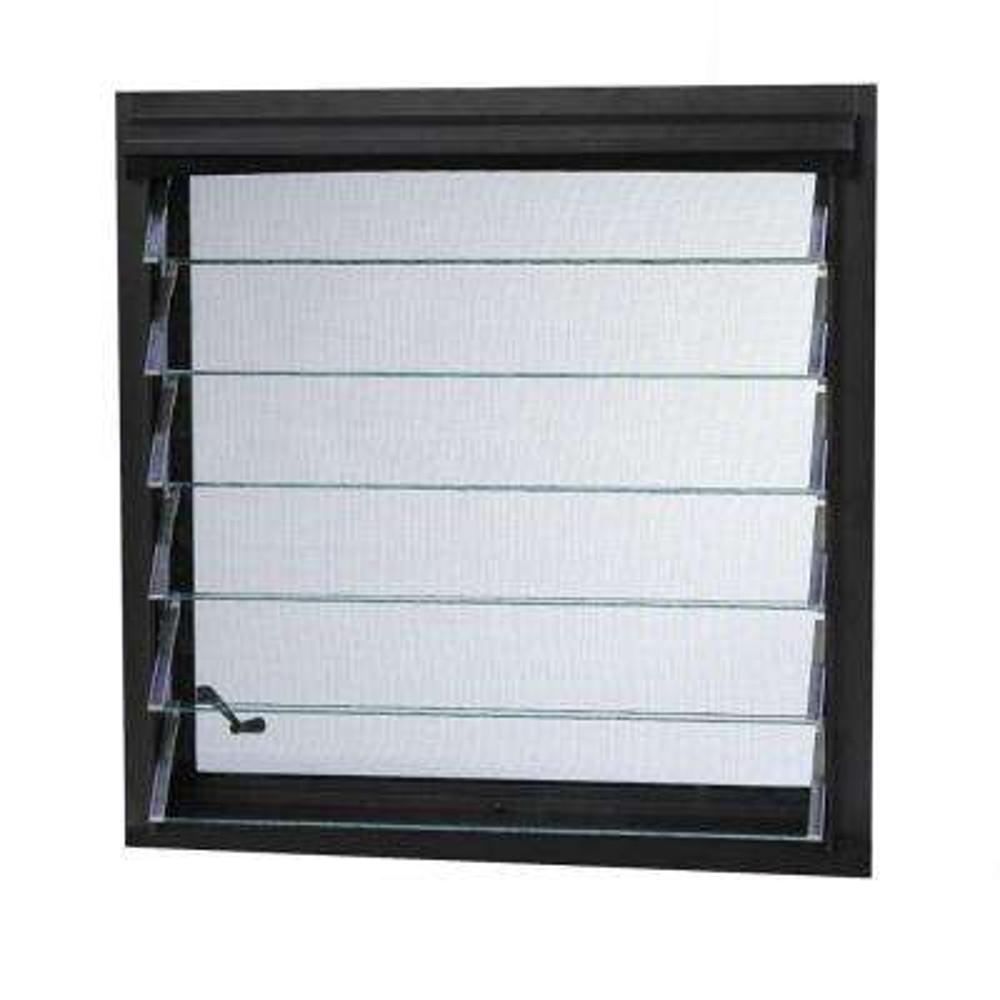 Tafco Aluminum Jalousie Utility Louver Window Bronze with Screen