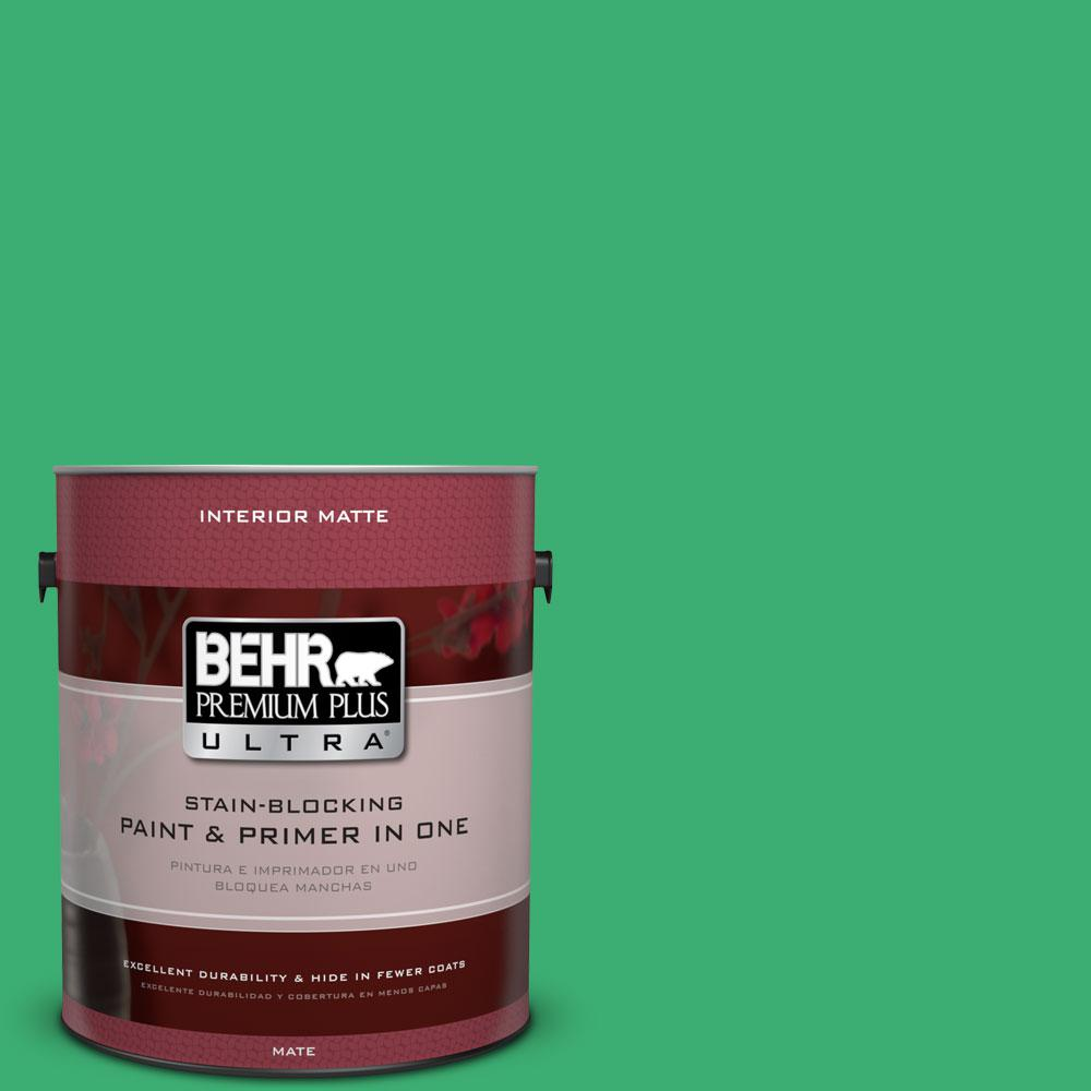 1 gal. #460B-5 Fresh Greens Matte Interior Paint and Primer in