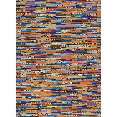 Cowhide Patchwork Blue, Brown, Purple Leather 5 ft. x 8 ft. Indoor Area Rug