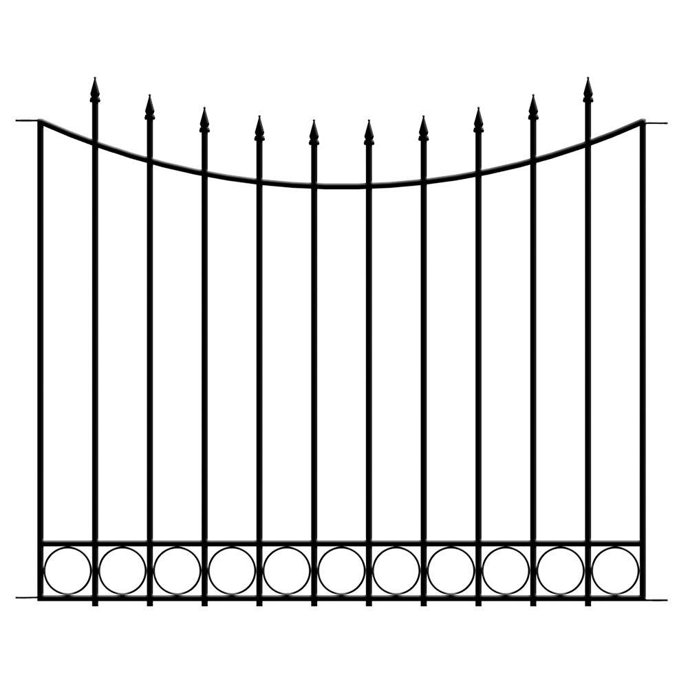 Beaumont 3.33 ft. x 4 ft. Black Steel 3-Rail Fence Panel