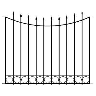 Beaumont 40.4 in. H x 49.6 in. W Black Steel 3-Rail Fence Panel