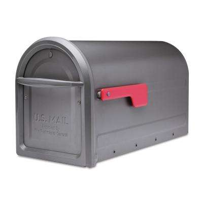Mapleton Post Mount Mailbox Graphite with Red Flag