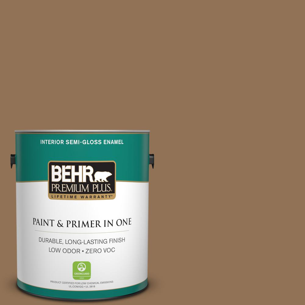 1 gal. #PMD-107 Shaved Chocolate Semi-Gloss Enamel Zero VOC Interior Paint