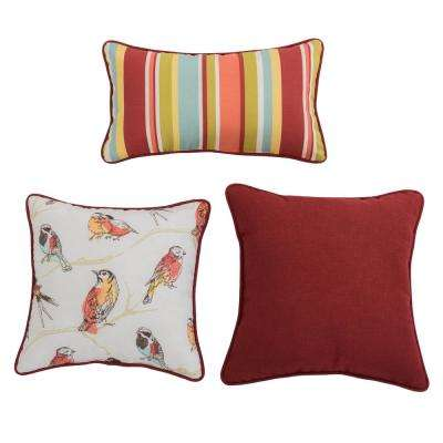 Perch Jubilee Redish Square and Outdoor Lumbar Throw Pillow (3-Pack)