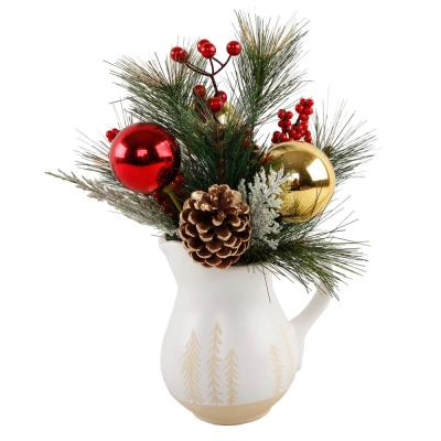 14 in. H Ceramic Christmas Arrangement Watering Pot with Pinecones and Berries