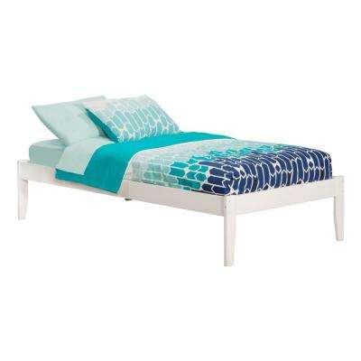 Concord White Twin XL Platform Bed with Open Foot Board