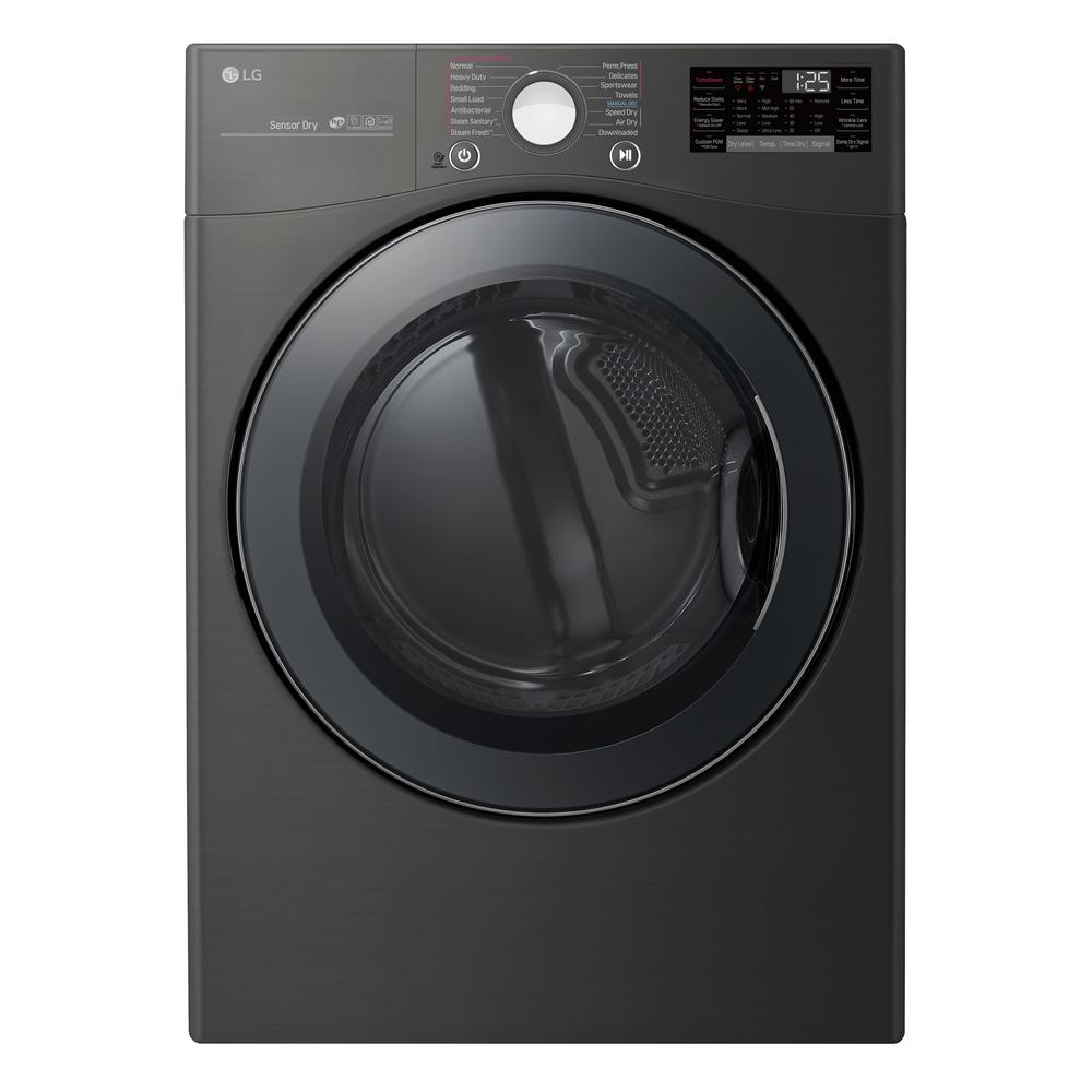 LG Electronics LG Electronics 7.4 cu. ft. Black Steel Ultra Large Capacity Electric Dryer with Sensor Dry, Turbo Steam and Wi-Fi
