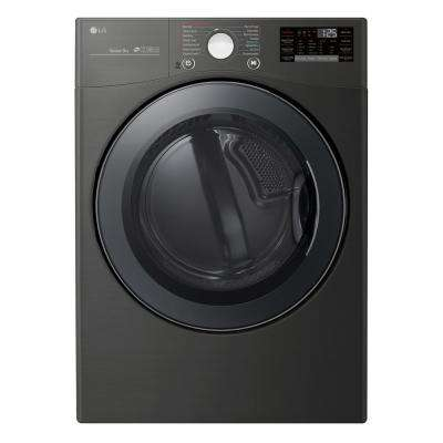 7.4 cu. ft Large Smart Stackable Front Load Electric Dryer w/ TurboSteam, Sensor Dry, Pedestal Compatible in Black Steel
