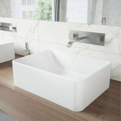 Caladesi Matte Stone Vessel Sink in White with Titus Dual Lever Wall Mount Faucet in Brushed Nickel