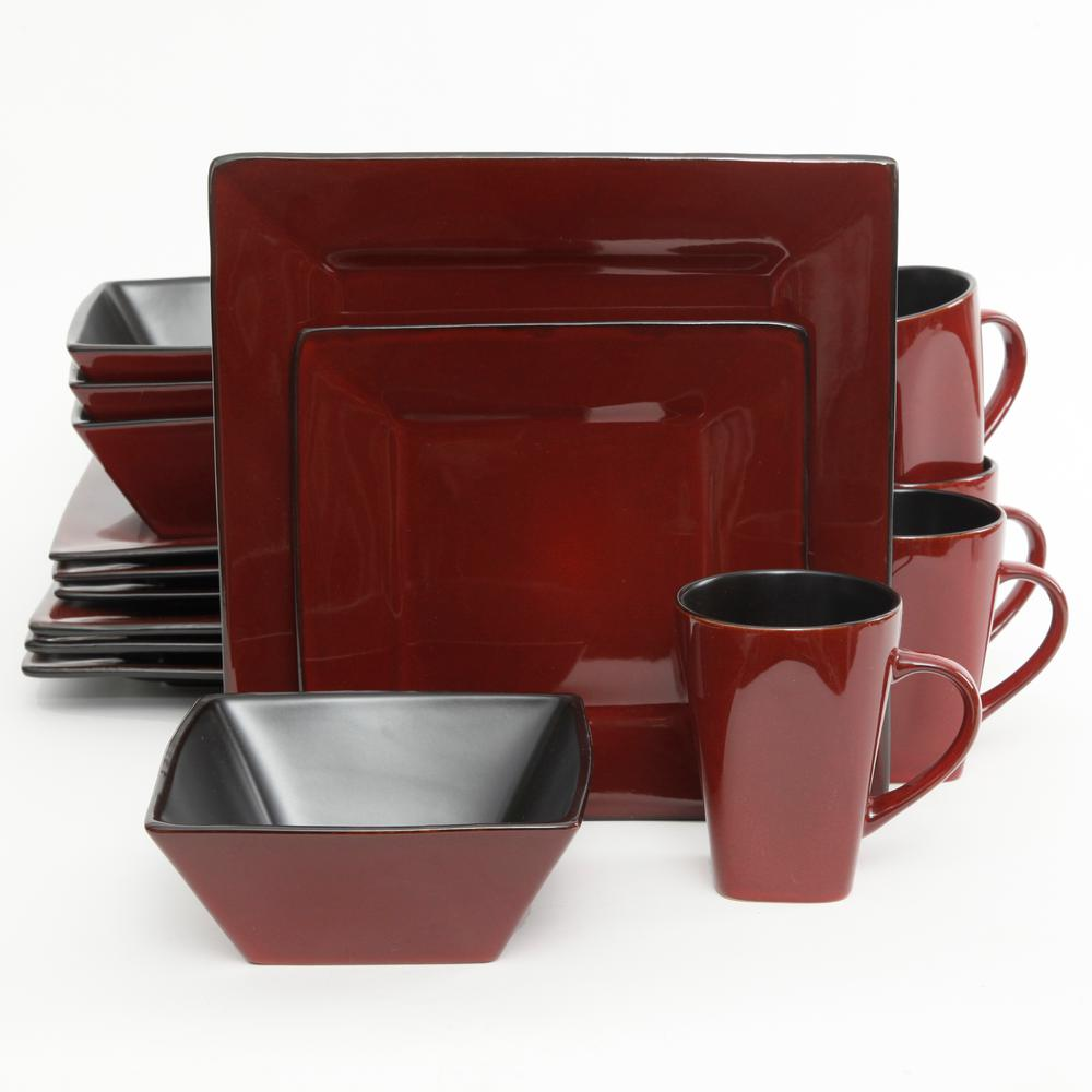 Kiesling 16-Piece Red Reactive Glaze Square Dinnerware Set