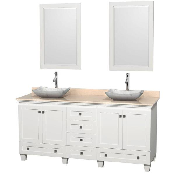Wyndham Collection Acclaim 72 In W Double Vanity In White With Marble Vanity Top In Ivory White Carrara Sinks And 2 Mirrors Wcv800072dwhivgs3m24 The Home Depot