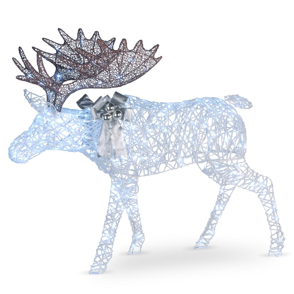 moose with glitter and 200 cool white twinkling led lights - Moose Christmas Yard Decorations
