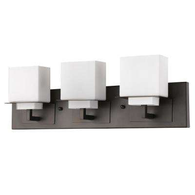 Rampart 22 in. 3-Light Oil-Rubbed Bronze Vanity Light with Etched Glass Shades