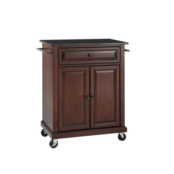 Rolling Mahogany Kitchen Cart with Black Granite Top