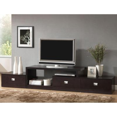 Marconi 94 in. Dark Brown Wood TV Stand with 3 Drawer Fits TVs Up to 47 in. with Built-In Storage