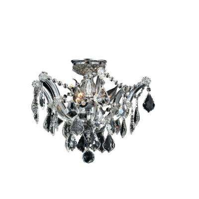 Bayou Collection 3-Light Chrome Crystal Ceiling Light