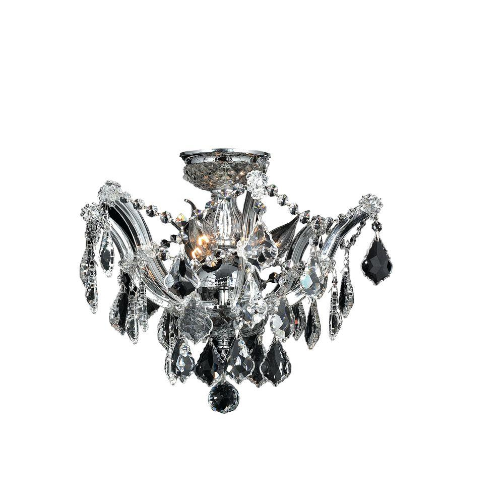 Worldwide Lighting Bayou Collection 3 Light Chrome Crystal Ceiling Light