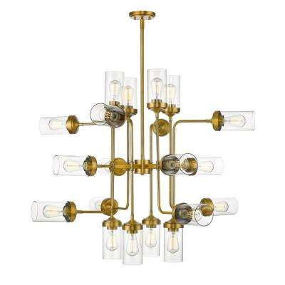 Lopia 20-Light Foundry Brass Pendant with Clear Glass Shade