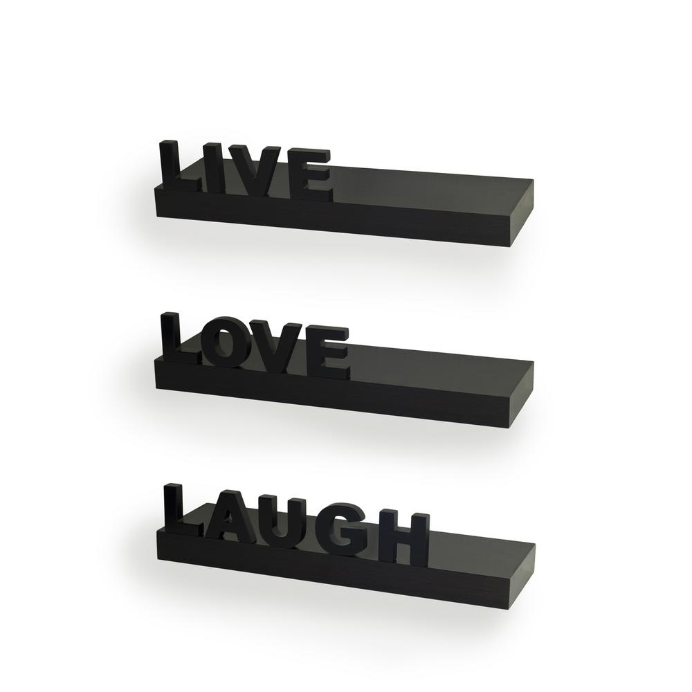 "15 in. x 3.25 in. Black Decorative ""Live"" ""Love"" ""Laugh"""