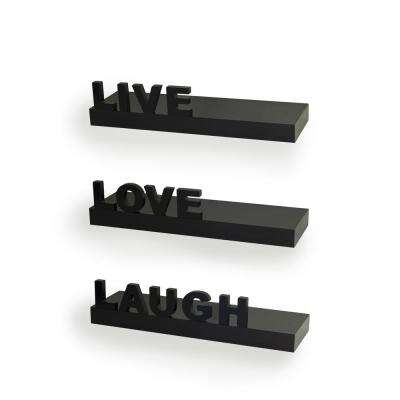 "15 in. x 3.25 in. Black Decorative ""Live"" ""Love"" ""Laugh"" Floating Wall Shelves (Set of 3)"