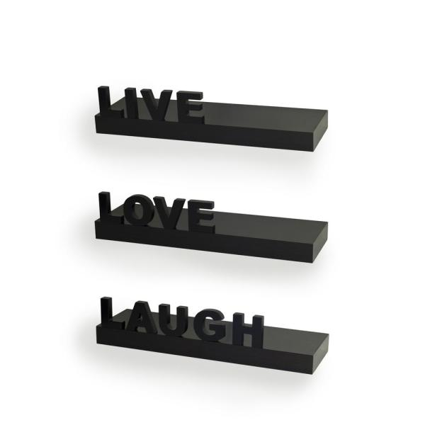 """DANYA B 15 in. x 3.25 in. Black Decorative """"Live"""" """"Love"""" """"Laugh"""" Floating Wall Shelves (Set of 3)"""
