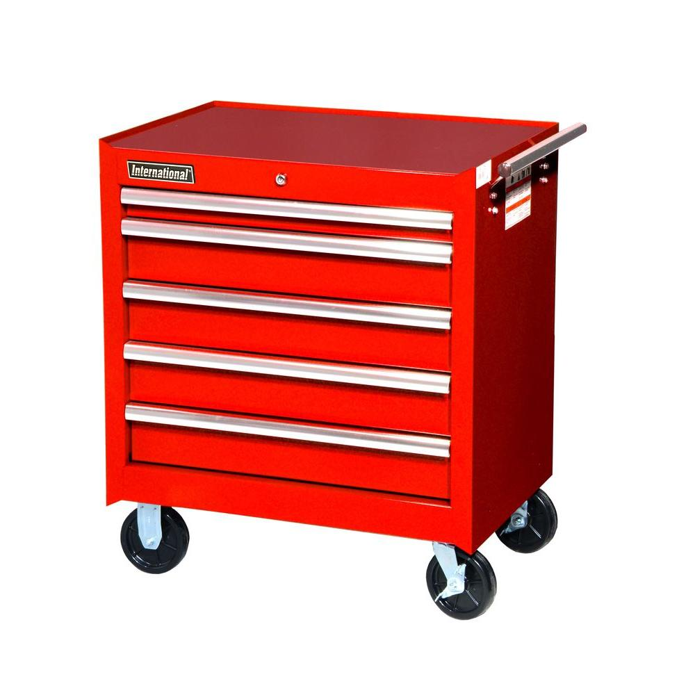 27 in. Tech Series 5-Drawer Cabinet, Red