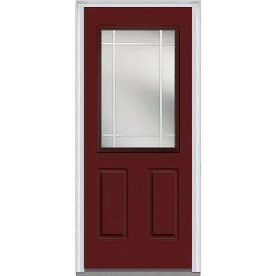36 in. x 80 in. Internal Grilles Left-Hand Inswing 1/2-Lite Clear 2-Panel Painted Fiberglass Smooth Prehung Front Door