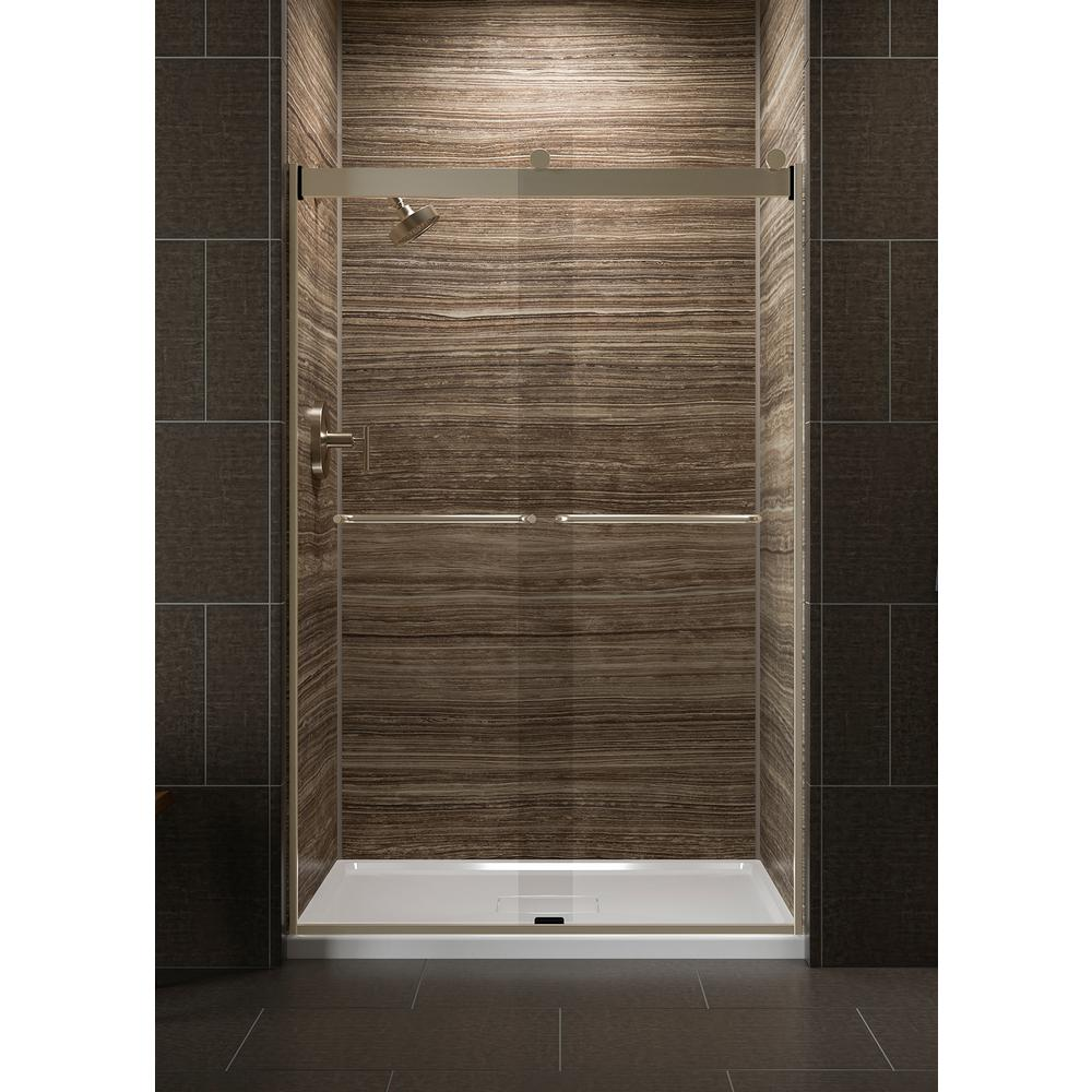 Kohler Levity 48 In X 74 Semi Frameless Sliding Shower Door Bronze With Crystal Clear Gl And Handle