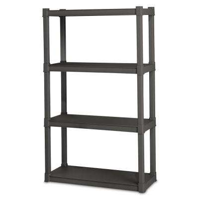 57 in. H x 34.5 in. W x 14.375 in. D 4-Shelf Plastic Shelving Unit (1-Pack)