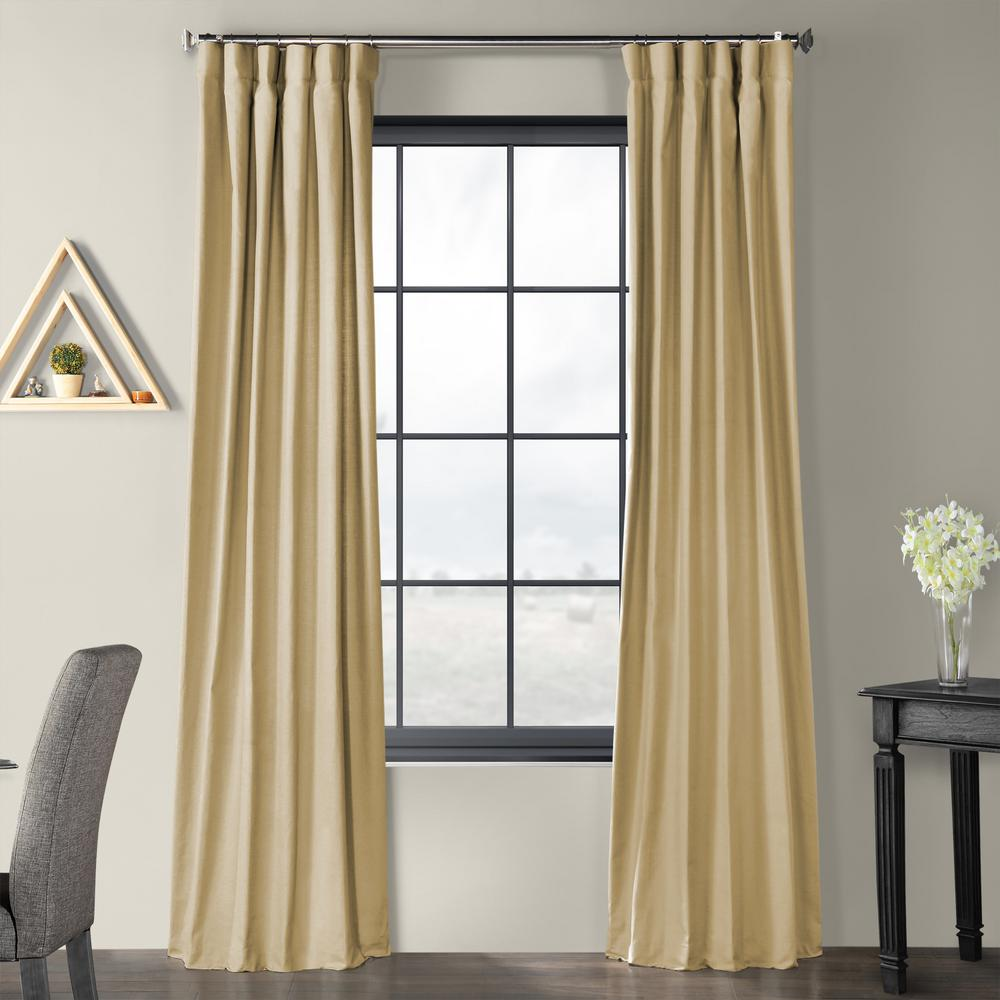 Exclusive Fabrics & Furnishings Camel Beige Solid Country Cotton Linen Weave Curtain - 50 in. W x 96 in. L