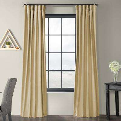 Camel Beige Solid Country Cotton Linen Weave Curtain - 50 in. W x 96 in. L