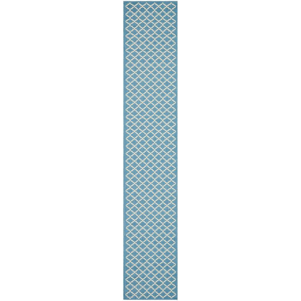Courtyard Blue/Beige 2 ft. 3 in. x 14 ft. Indoor/Outdoor Runner