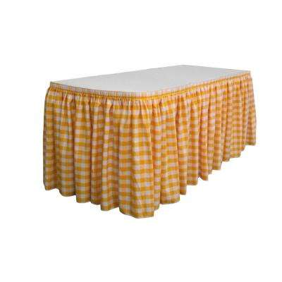 14 ft. x 29 in. Long White and Dark Yellow Polyester Gingham Checkered Table Skirt with 10 L-Clips