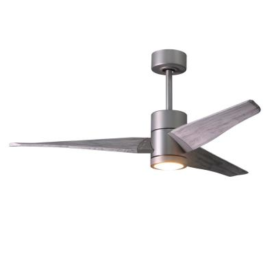 Super Janet 52 in. LED Indoor/Outdoor Damp Brushed Nickel Ceiling Fan with Light with Remote Control and Wall Control