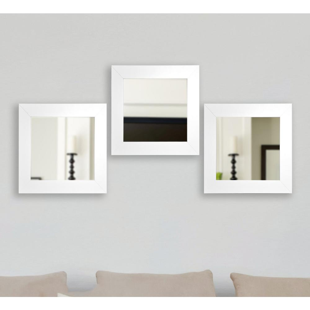 215 in x 215 in white satin square wide wall mirrors set of 3 white satin square wide wall mirrors set of 3 s036ms3 the home depot amipublicfo Images