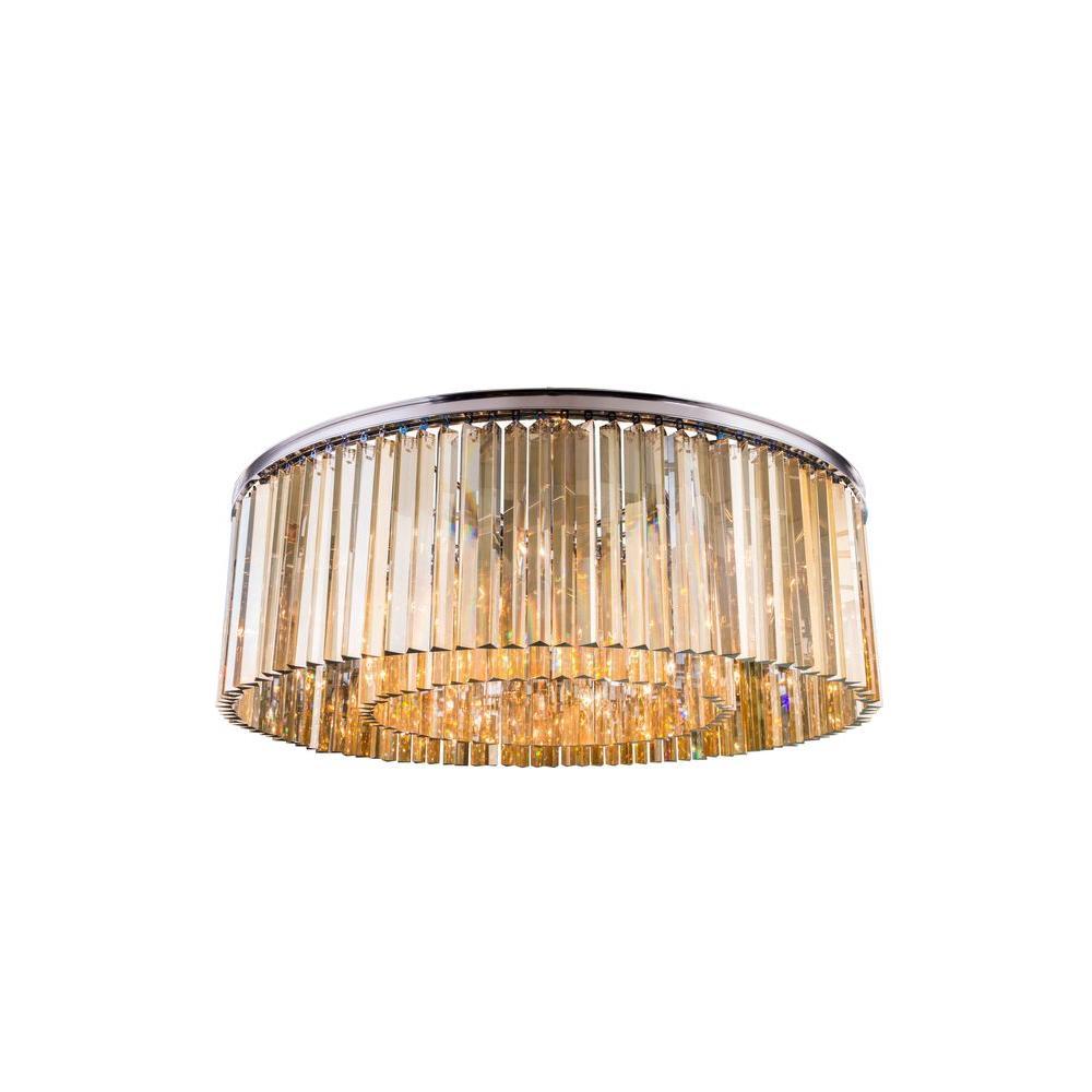 Sydney 10-Light Polished Nickel Flush Mount with Golden Teak Smoky Crystal