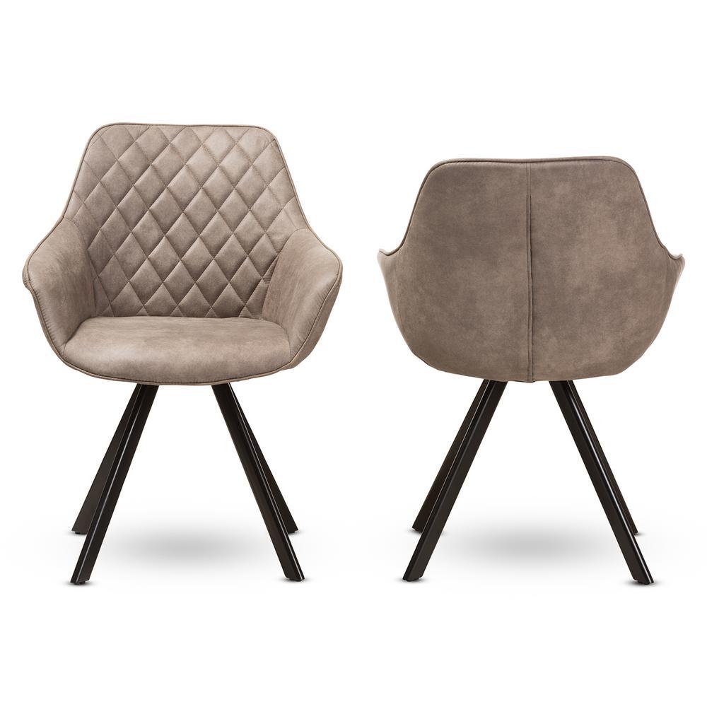 Pamela Light Brown Fabric Dining Chair (Set of 2)