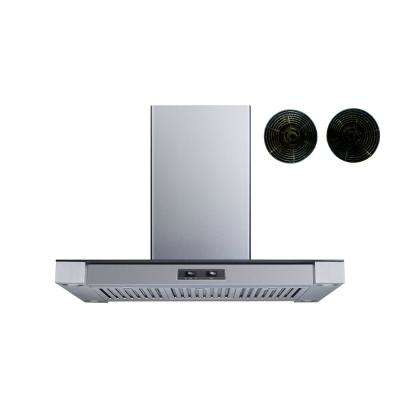36 in. Convertible Island Mount Range Hood in Stainless Steel and Glass with Baffle Filters and Carbon Filters