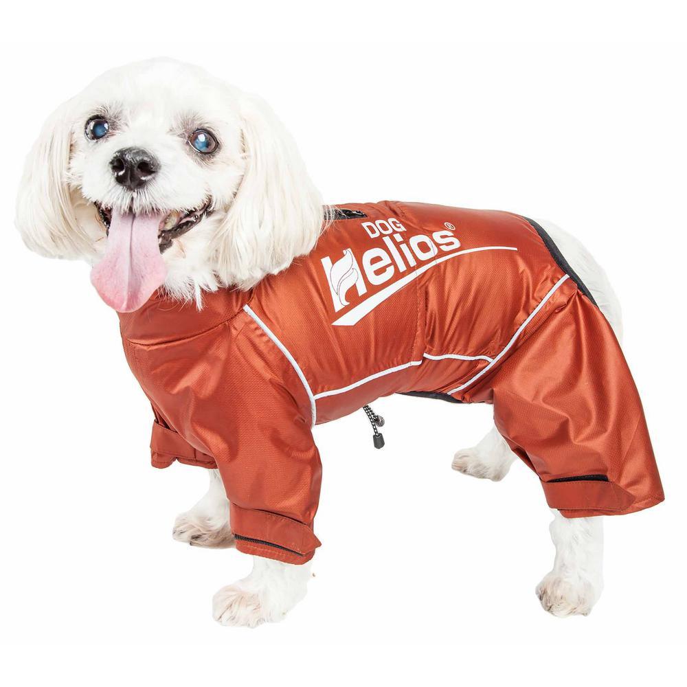 Small Orange Hurricanine Waterproof and Reflective Full Body Dog Coat Jacket