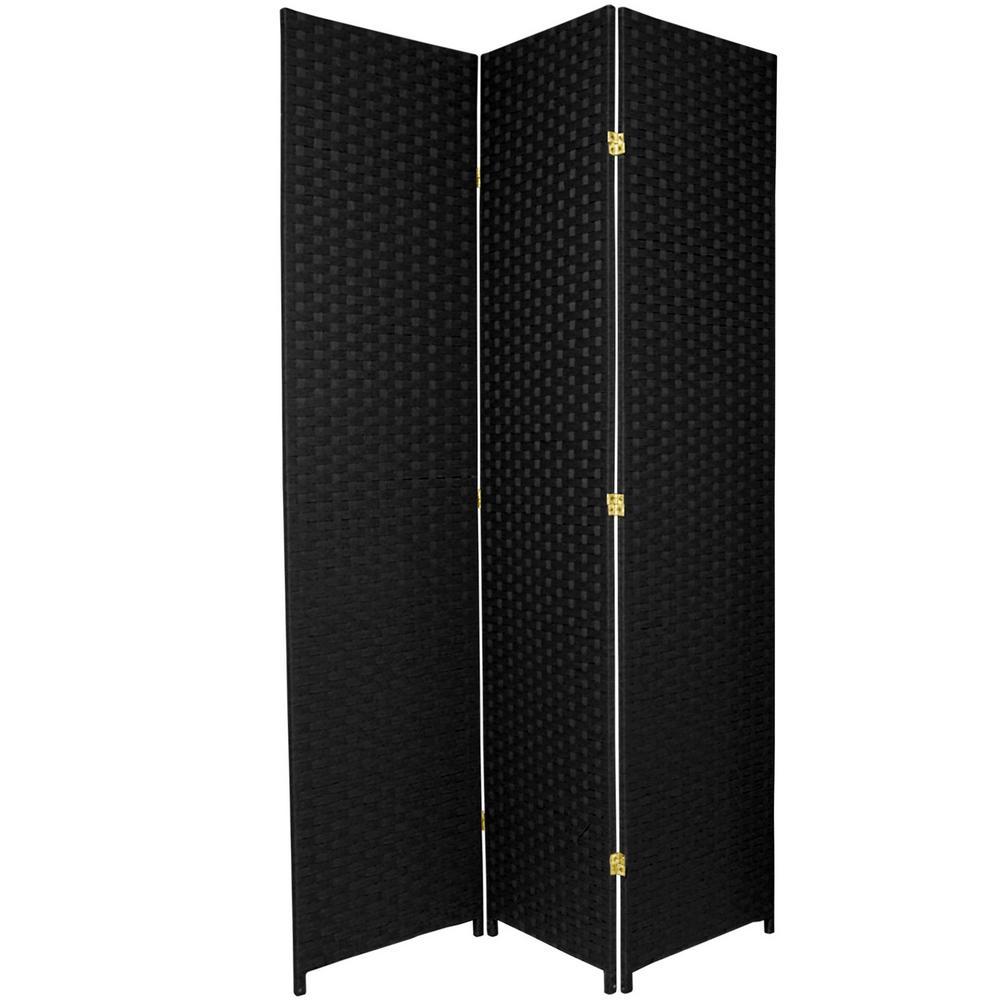 7 Ft Black 3 Panel Room Divider Ss7fiber Blk 3p The Home Depot