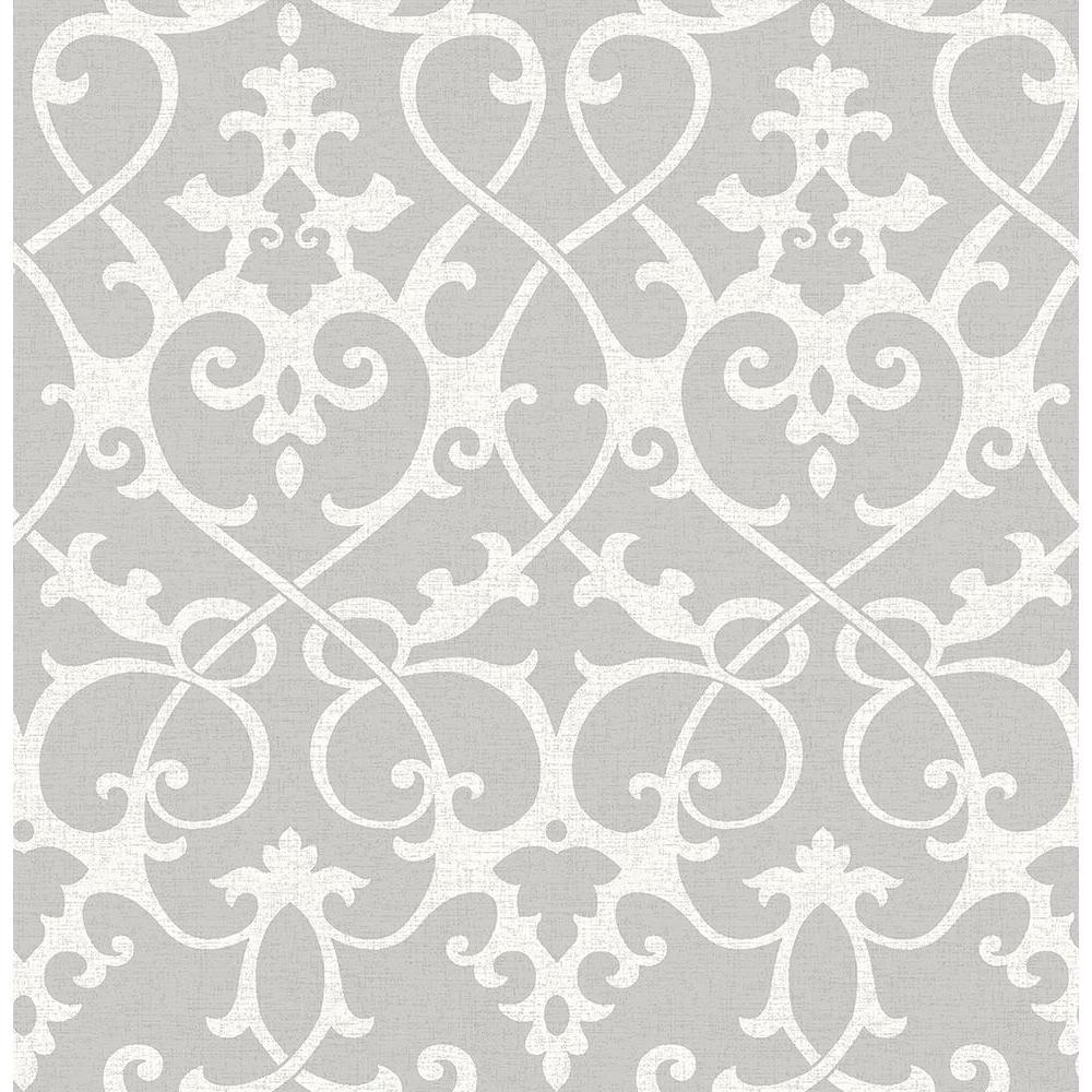 A-Street Axiom Grey Ironwork Wallpaper 2625-21866