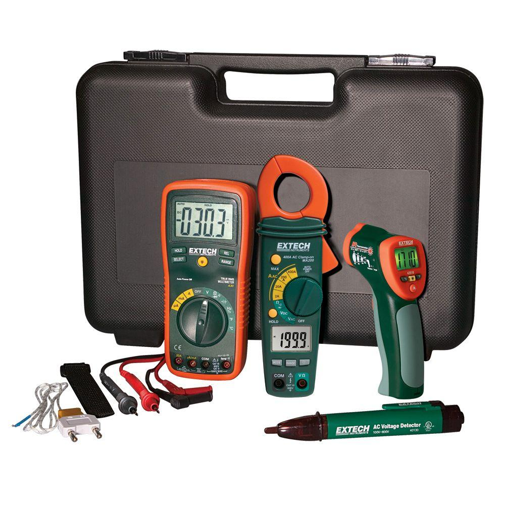Extech Instruments Manual Multimeter Electrical Test Kit with IR  Thermometer and Case
