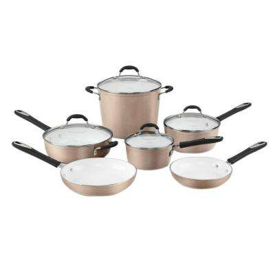 Elements 10-Piece Champagne Cookware Set with Lids