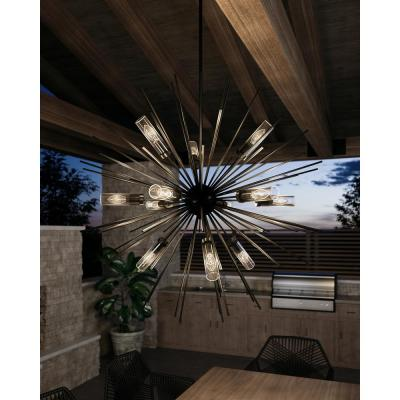 Hilo Large 12-Light Oil Rubbed Bronze Outdoor Hanging Chandelier with Clear Glass Tube Shades
