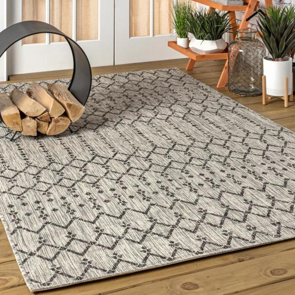 Jonathan Y Ourika Moroccan Light Gray Black 5 Ft 3 In X 7 Ft 7 In Geometric Textured Weave Indoor Outdoor Area Rug Smb108e 5 The Home Depot