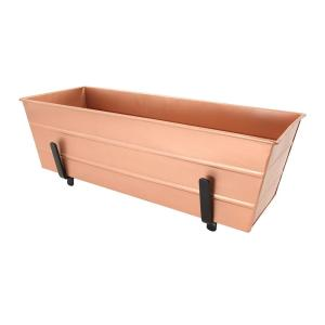 24 in. W Copper Plated Medium Galvanized Steel Flower Box Planter With Brackets for 2 x 6 Railings